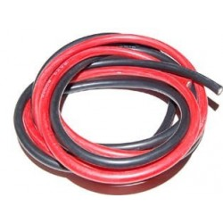 FIL SILICONE 10 AWG / 5.26mm²  ROUGE+NOIR 2X1M