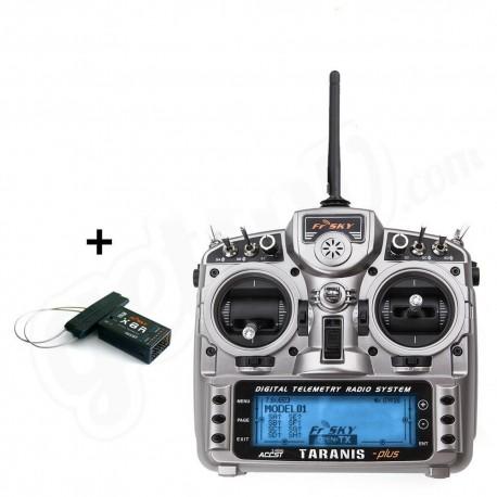 Radio Taranis PLUS 16 voies valise souple ( mode 1) + récepteur 8 voies FrSky